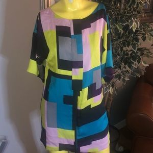 MILLY SILK COLOR BLOCK DRESS